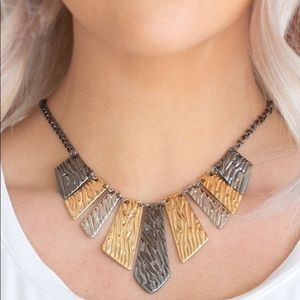 Textured tigress silver & gold necklace